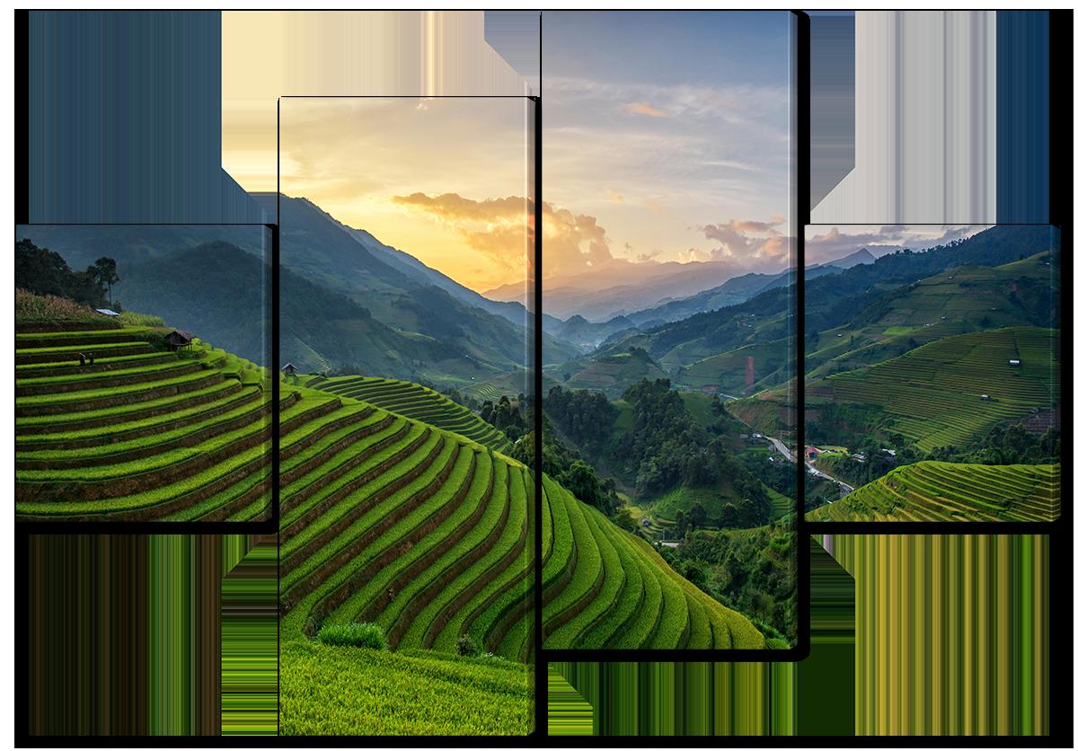 Модульная картина Interno Эко кожа Чайная плантация в Китае 146х100см (A1578L)