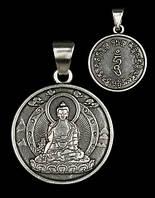 Талисман Будда Медицины (посеребрённый, двусторонний), фото 1