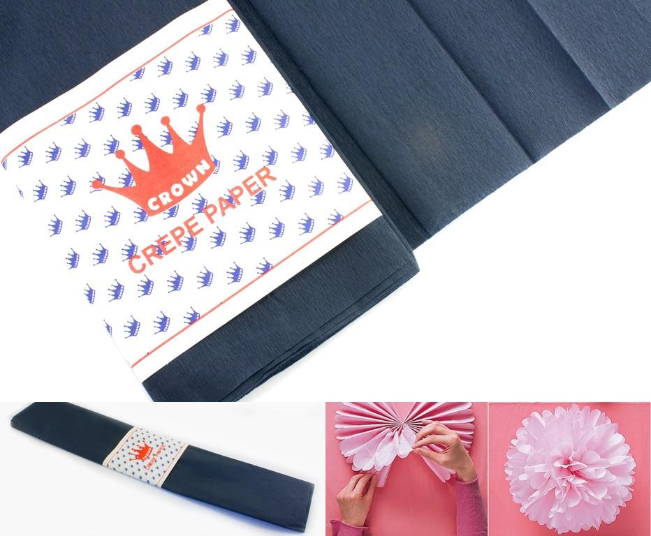 (50см х 1,8метра) Креп бумага, жатка, гофробумага (плотность 20гр/м) Цвет - Чёрно-графитовый