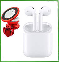 Беспроводные сенсорные наушники блютус i12 TWS Magneto AirPods белые + подарок крепление для смартфона