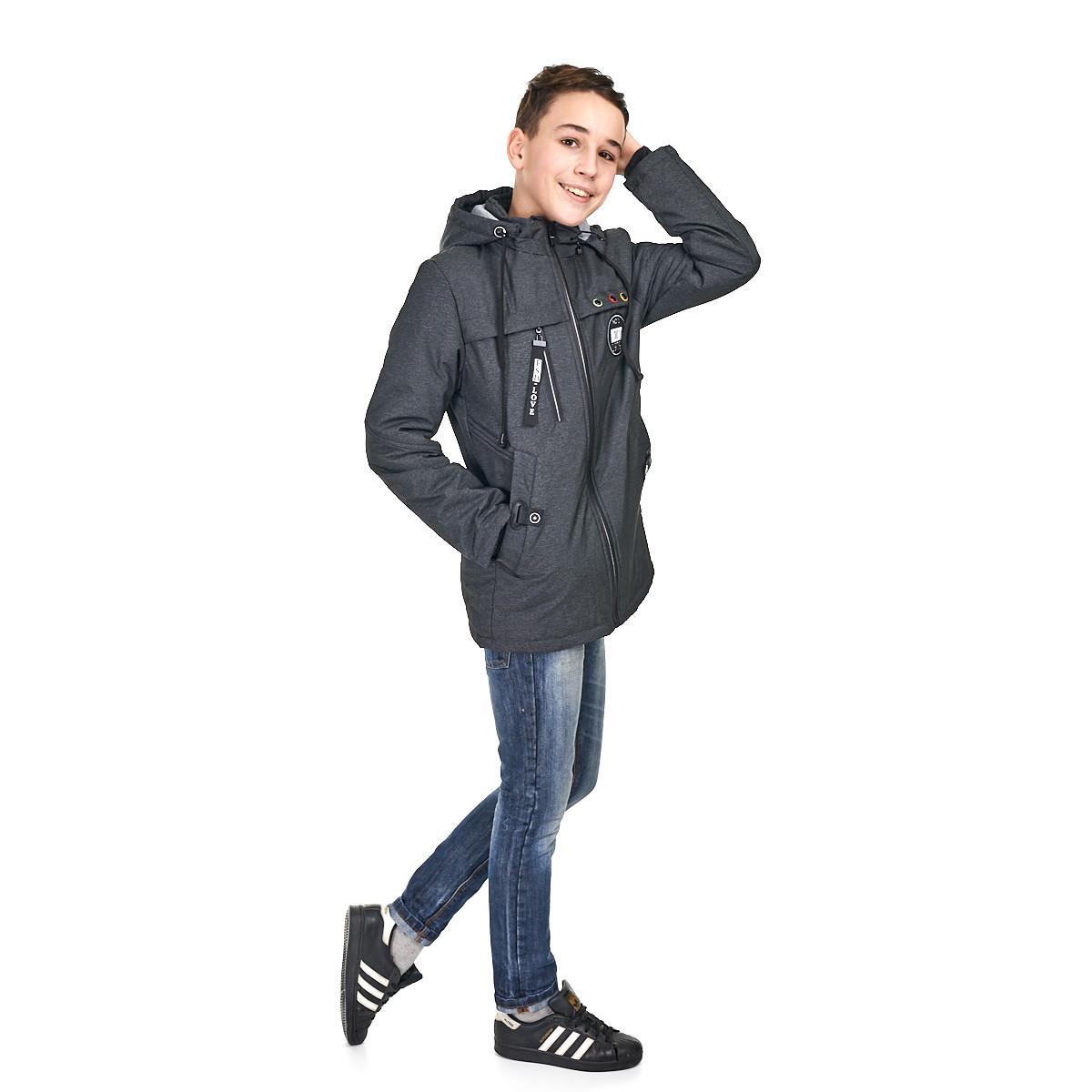 Осенняя курточка с наушниками на мальчика  10-15 лет, размеры 140-164