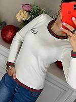 Белый женский тркиотажный свитерок Balenciaga( копия)