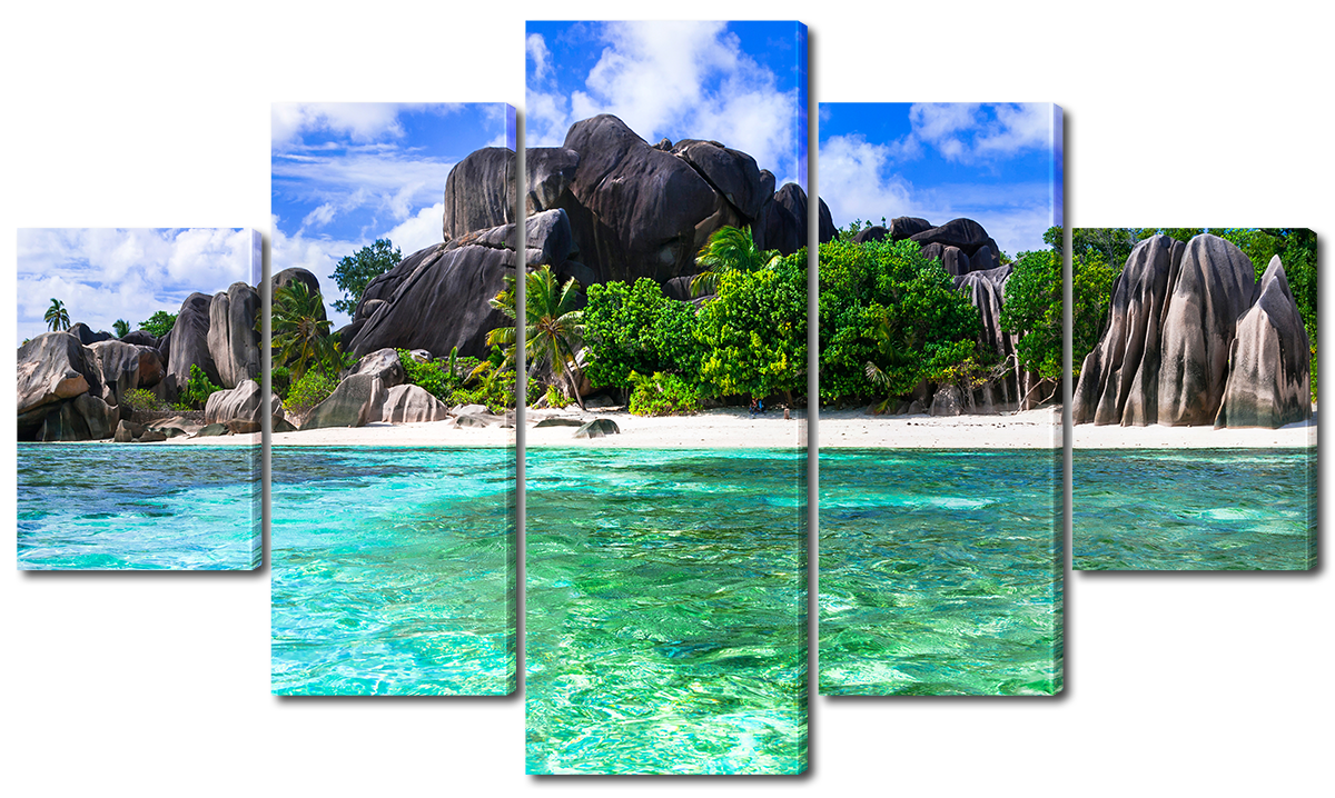 Модульная картина Interno Эко кожа Тропический пляж и камни 185х106см (A1579XXL)