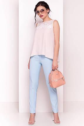 Свободная асимметричная женская блуза без рукавов (S, M, L) пудра, фото 2