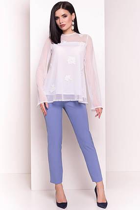 Легкая женская блуза с длинным рукавом (S, M, L) белая, фото 2