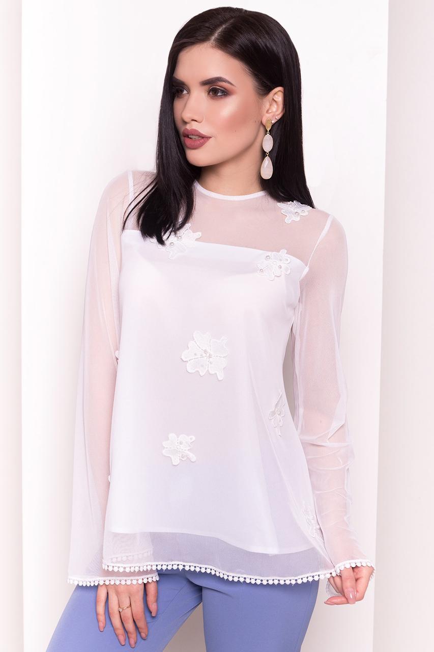 Легкая женская блуза с длинным рукавом (S, M, L) белая
