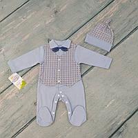 Человечек для новорожденного на выписку с роддома с шапочкой (интерлок)