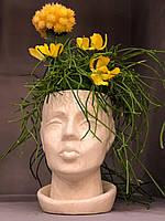 Скульптурний вазон, кашпо з бетону, скульптурне кашпо для вазонві, квітів, композицій, фото 1