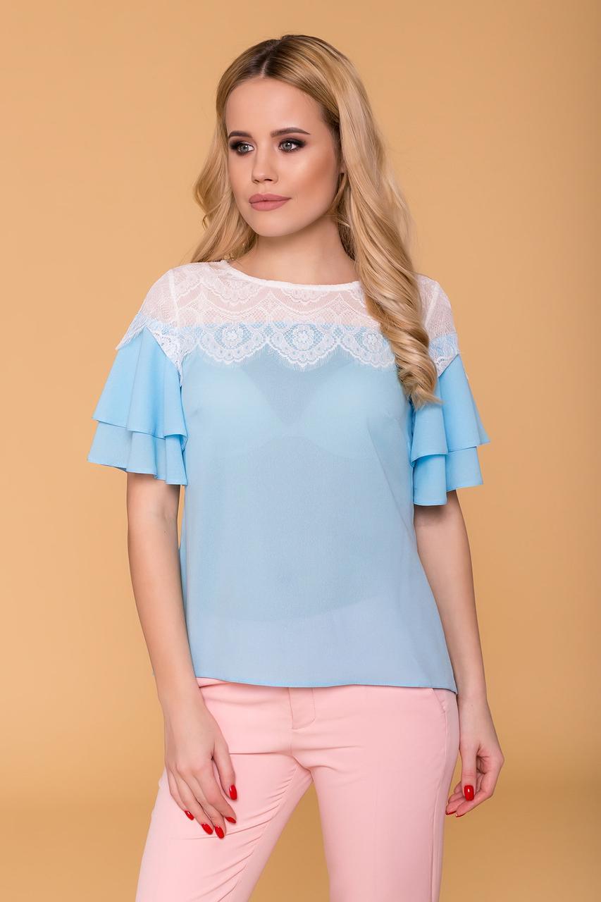 Женская нарядная блуза с короткими рукавами-воланами (S, M, L) голубая