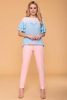 Женская нарядная блуза с короткими рукавами-воланами (S, M, L) голубая, фото 2