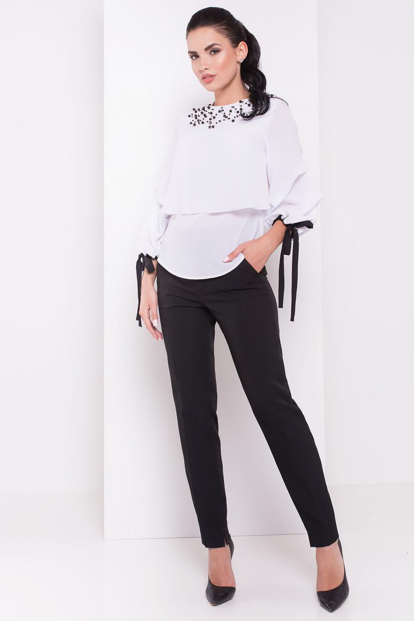 Женская роскошная блуза с объемными рукавами (S, M, L) белая