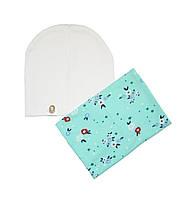 Комплект шапка и шарф-хомут с цветочным узором
