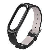 Кожаный ремешок Primo Mijobs для фитнес-браслета Xiaomi Mi Band 4 - Black