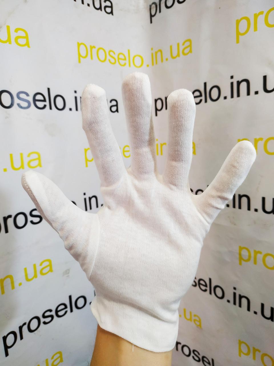 Перчатки белые х\б. Для официантов, невест, парадные. Польша