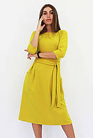 S, M, L, XL | Класичне жіноче плаття-міді Tirend, гірчиця