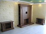 Стенка в гостиную тумба ТВ  с порталом под камин, свечи, зеркало, фото 4