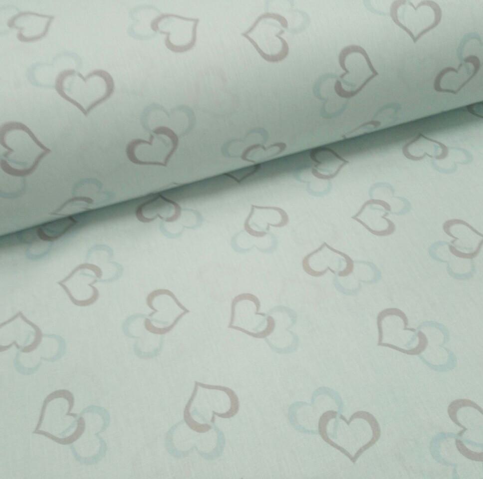 Хлопковая ткань (ТУРЦИЯ шир. 2,4 м) сердечки серо-голубые на голубом