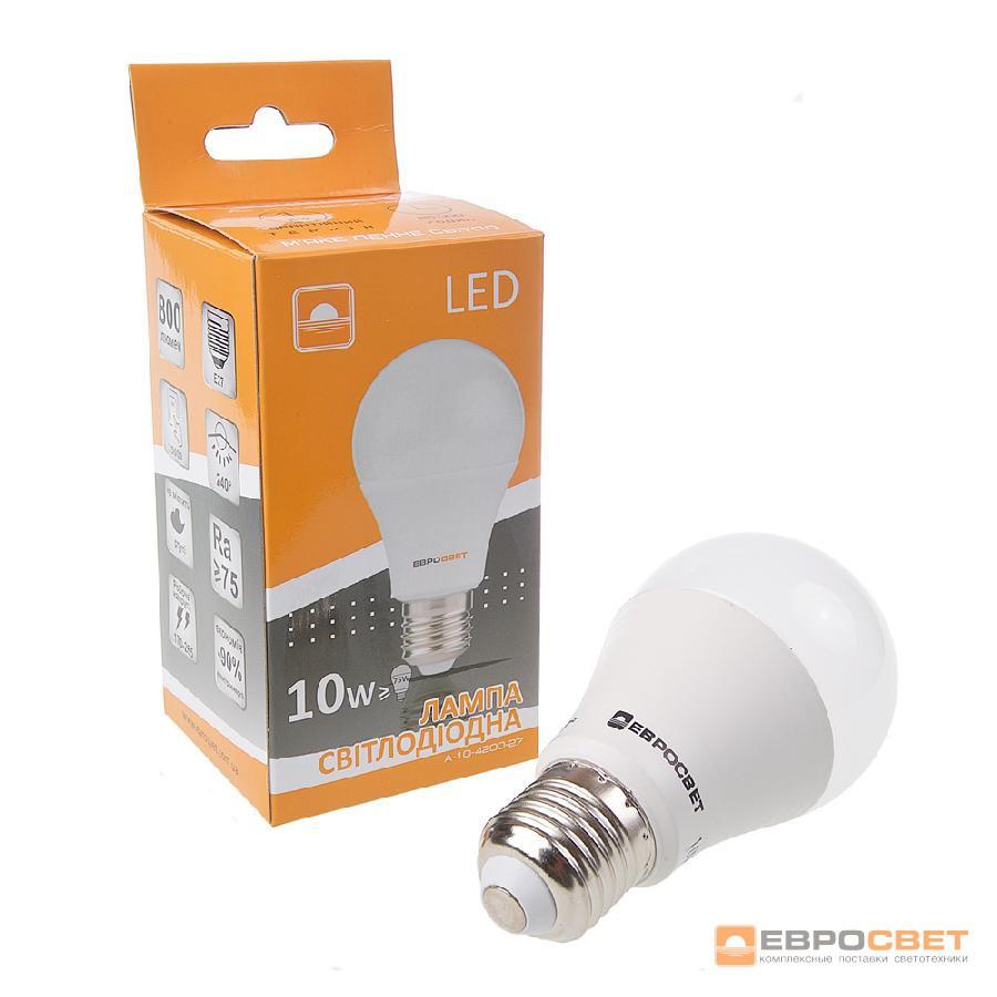 Лампа светодиодная ЕВРОСВЕТ 10Вт 6400К A-10-6400-27 Е27