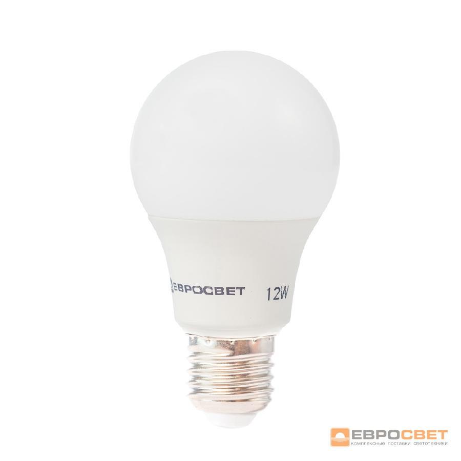Лампа светодиодная ЕВРОСВЕТ 12Вт 6400К A-12-6400-27 Е27
