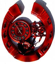 Настенные часы из кожи и бамбука Подкова