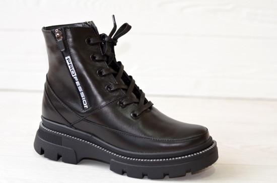 Ботинки женские зимние черные кожаные на тракторной подошве