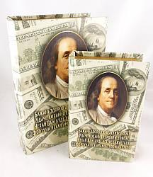 Шкатулка книга набор 2 шт Доллары 27см