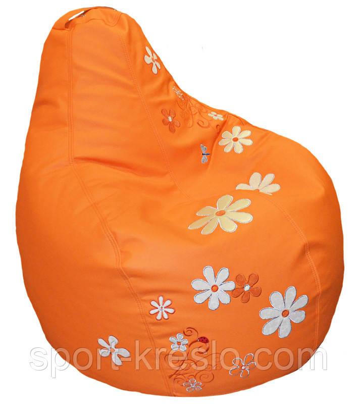 Безкаркасне Крісло мішок груша sportkreslo Ромашка Екокожа розмір S 80*100см помаранчеве