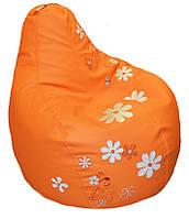 Бескаркасное Кресло мешок груша sportkreslo Ромашка Экокожа размер S 80*100см оранжевое