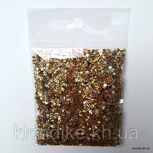 "Конфетти ""Звёздочки"" (фольга, глиттер), размер упаковки: 6×5 cм, Цвет: Золото (10 грамм)"