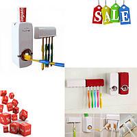 Пластмассовый дозатор для зубной пасты и держатель для зубной щетки Toothpaste Dispenser