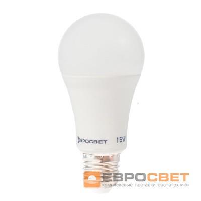 Лампа светодиодная ЕВРОСВЕТ 15Вт 6400К A-15-6400-27 Е27