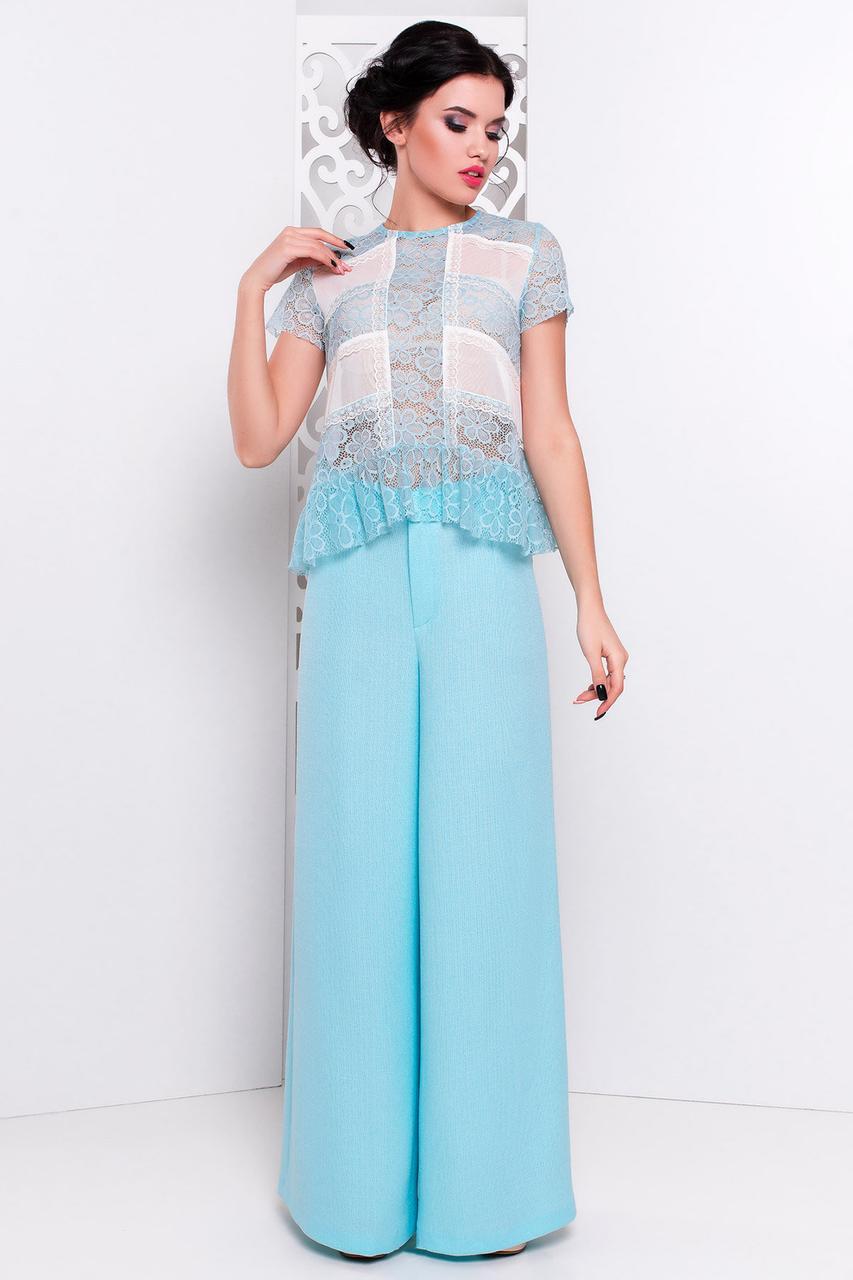 Женская нежная полупрозрачная блуза из фатина и гипюра  (S, M, L) мята