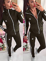 Женский спортивный костюм дайвинг Adidas весна-осень (S/M, M/L) (цвет хаки) СП