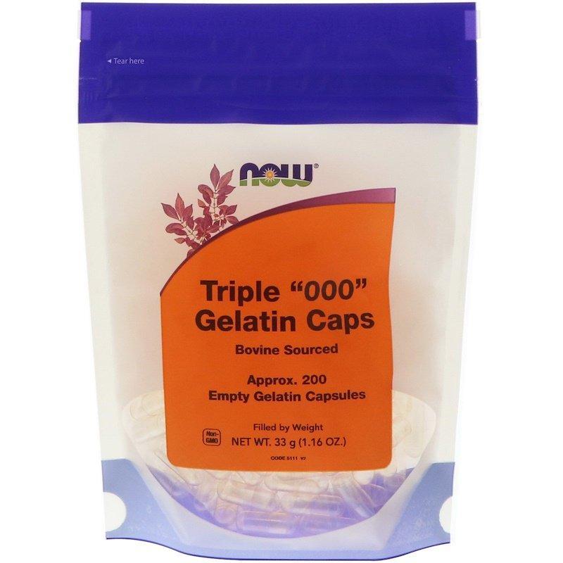 "Пустые желатиновые капсулы NOW Foods ""Triple ""000"" Gelatin Caps"" (200 пустых капсул)"