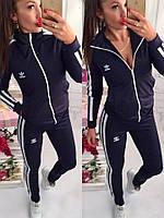 Женский спортивный костюм дайвинг Adidas весна-осень (S/M, M/L) (цвет т.синий) СП