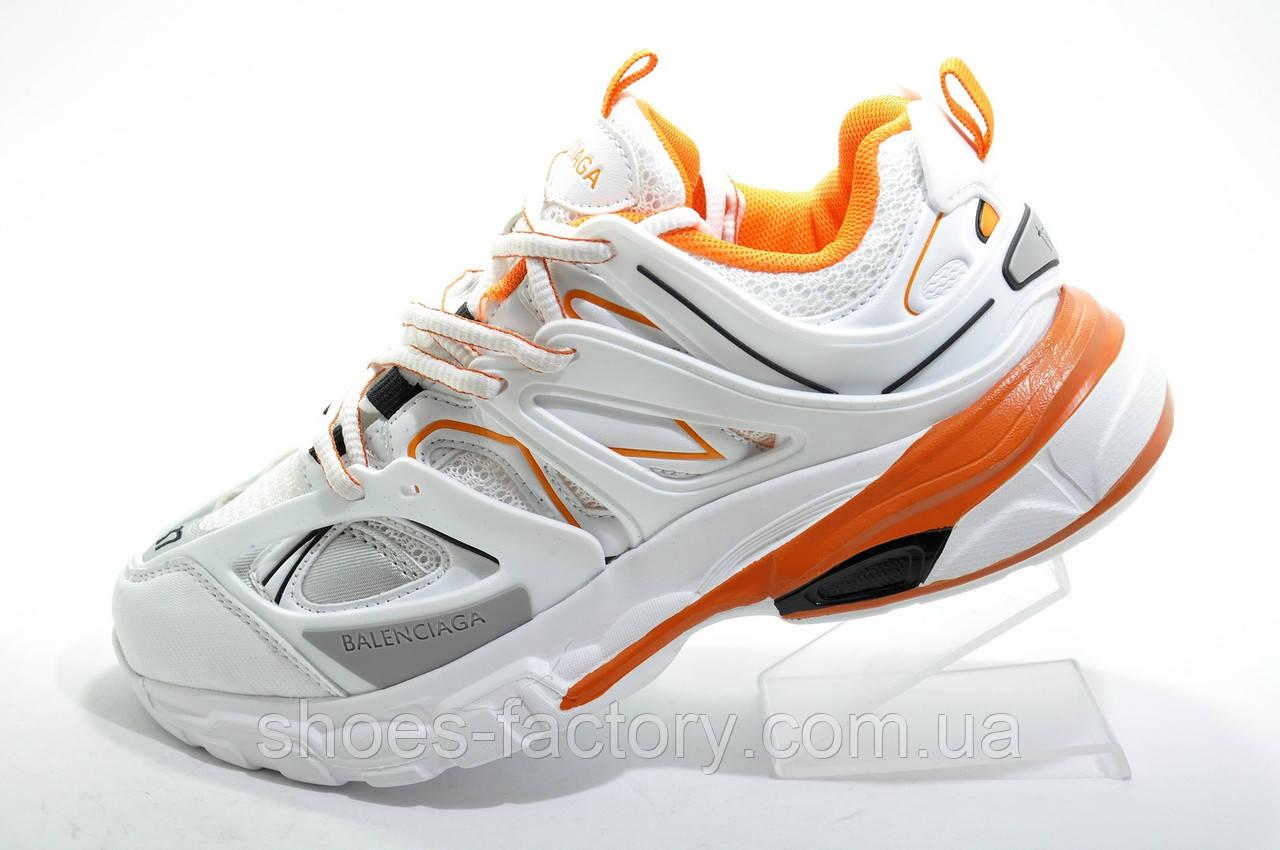 Женские кроссовки в стиле Balenciaga Track, White\Orange