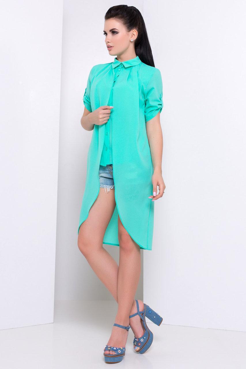 Оригинальная женская блуза-рубашка с асимметричным низом (S, M, L) мята