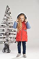 Зимняя куртка на овчине для девочки 6-8 лет, размеры 116-128