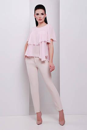 Женственная блуза из шифона с воланами (S, M, L) светло-розовый, фото 2