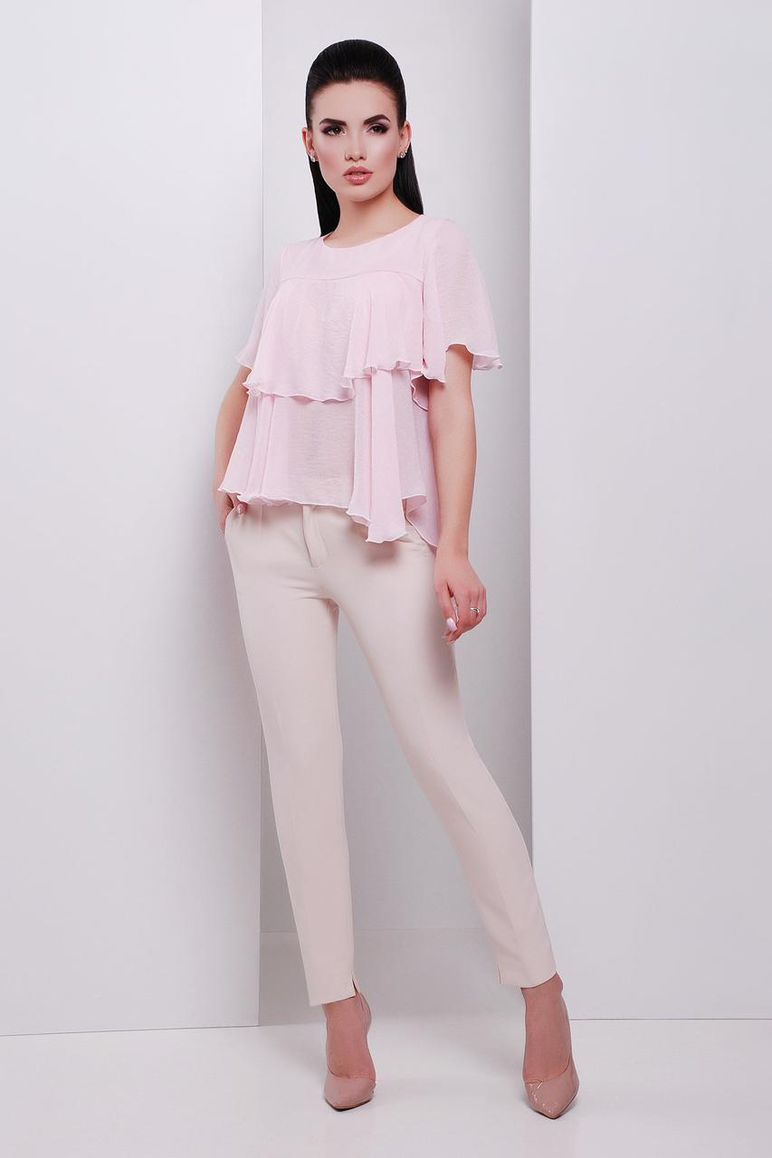 Женственная блуза из шифона с воланами (S, M, L) светло-розовый