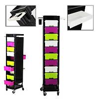 Тележка подставка на колесиках для салона с 10(12) выдвижными полками , цветная тележка, фото 1