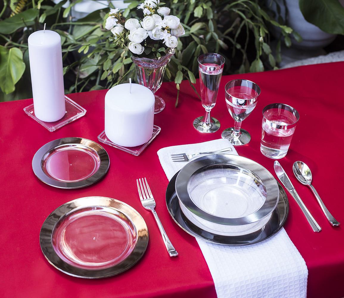 Посуда одноразовая стеклопластик , прозрачная с серебром 102 шт 6 чел. Capital For People.