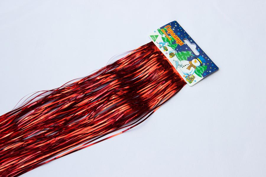 Новогоднее украшение - дождик, 100*24 см, ПВХ, красный (ГД-240/1,0-3)