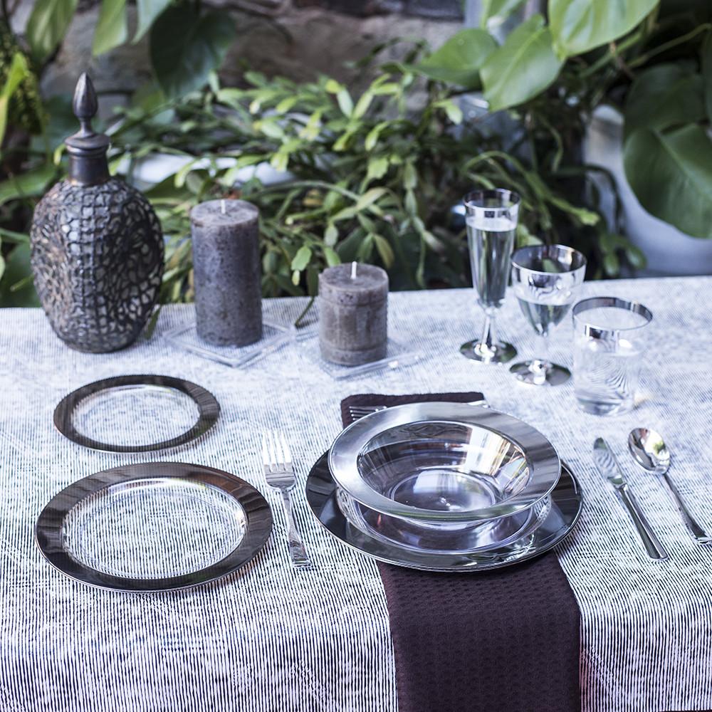 Посуда пластиковая многоразовая опт дляресторанов, horeca, кейтеринга прозрачная с серебром CFP 102 шт 6 пер