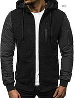 Куртка мужская осенняя J.Style 3057 черная демисезонная с капюшоном