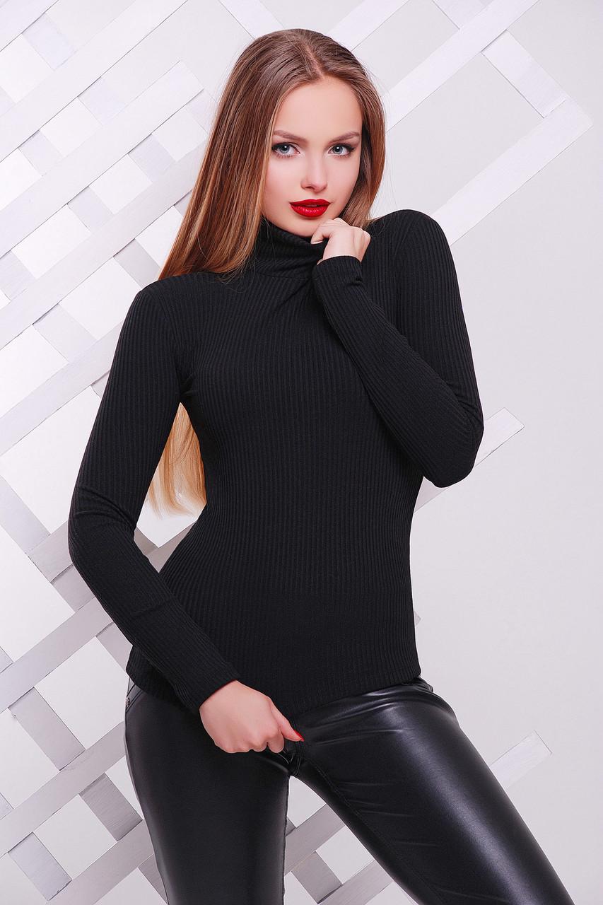 Чорна водолазка жіноча трикотажна