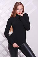 Черная женская трикотажная водолазка, фото 1