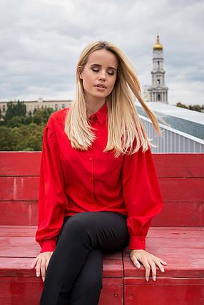 Нарядная блуза из софта с епископским рукавом (S, M, L) красная, фото 2