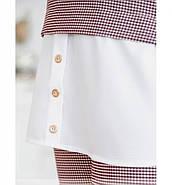 / Размер 50-52,54-56,58-60 / Женский костюм из блузы и брюк / 680-Бордо, фото 3