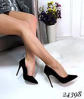 Туфли лодочки на шпильке черные, фото 1
